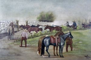 MEXICO: COWBOYS, 1916. Mexican cowboys rounding up wild ponies. Painting by Ernesto Icaza