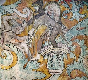 MEXICO: IXMIQUILPAN FRESCO. Fresco painting depicting a fanciful battle scene between
