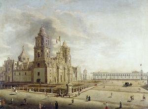 MEXICO: OAXACA CATHEDRAL. Oil on canvas, mid-19th century