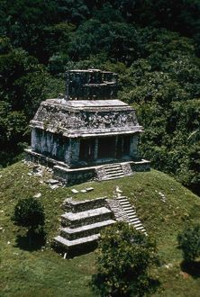 MEXICO: PALENQUE. The Temple of the Sun, c690 A.D., at the Mayan ruins of Palenque