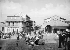 MEXICO: TAMPICO, c1890. The plaza in Tampico, Mexico. Photograph by William Henry Jackson