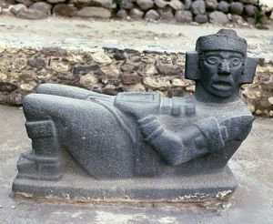 MEXICO: TOLTEC ALTAR. Toltec chac-mool stone altar where human sacrifice was made