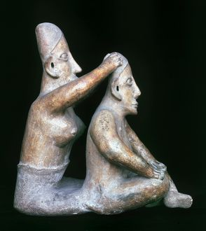 MEXICO: TOTONAC FIGURES. Ceramic figure of a woman washing a man's hair