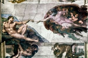 MICHELANGELO: ADAM. The Creation of Adam. Fresco by Michelangelo from the Sistine Chapel.