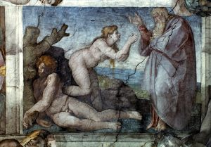 MICHELANGELO: EVE. Creation of Eve. Sistine Chapel ceiling, fresco, 1509-12.