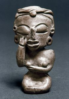 MICHOACAN: FIGURINE. Pre-Columbian figurine of a woman with her hand on her cheek