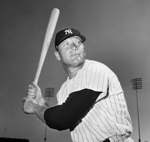MICKEY MANTLE (1931-1995). American baseball player. Playing for the New York Yankees