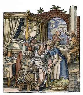 Midwives attend a childbirth while an astronomer casts a horoscope for the newborn