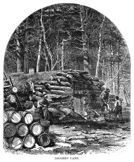 MINNESOTA: LOGGING, 1870. A loggers' camp in Minnesota. Wood engraving, American, 1870