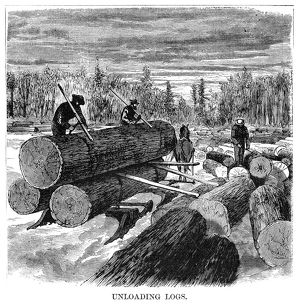MINNESOTA: LOGGING, 1870. Lumberjacks unloading logs from a sled, in Minnesota