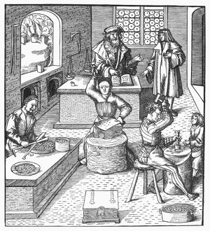 finance commerce/minting coins c1515 minting coins woodcut german
