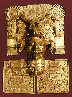 MIXTEC: GOD OF THE DEAD. Gold pendant of Mictlantecuhtli, god of the dead. Mixtec, c1400.