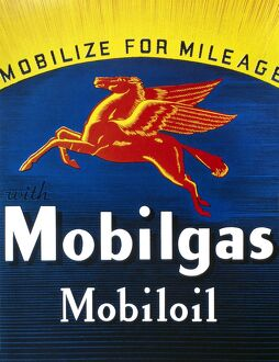 MOBIL ADVERTISEMENT, 1935. American advertisement for Mobil gasoline and motor oil, 1935.