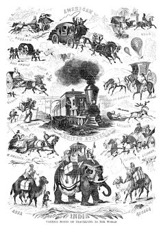 MODES OF TRAVELLING. 'Various Modes of Travelling in the World.' Wood engraving