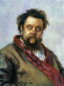 MODEST MUSSORGSKY (1835-1881). Russian composer. Oil, 1881, by Ilya Repin.