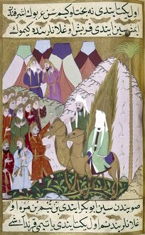MOHAMMED (570-632). Arabian prophet and founder of Islam. Tribal men questioning Mohammed