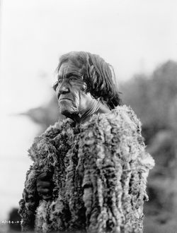 MOHAVE MAN, 1907. Portrait of a Mohave man wearing a rabbit skin robe