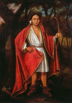 MOHAWK CHIEF, 1710. Ho Nee Yeath Taw No Row, a Mohawk chief. Oil on canvas, 1710