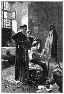 MONASTERY: PAINTER, 1883. A monk painting an icon