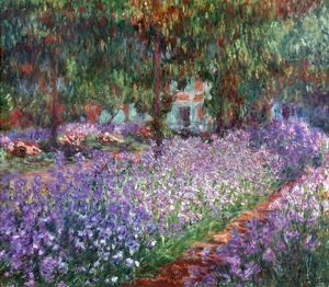 MONET: GIVERNY, 1900. The Artist's Garden at Giverny. Oil on canvas by Claude Monet