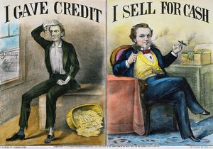 "MONEY LENDING, 1870. ""I Gave Credit/I Sell for Cash"": lithograph, 1870, by Currier & Ives."