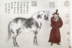 A Mongol groom leading a horse to be presented as tribute to the Chinese court