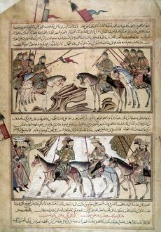 MONGOL TROOPS. Mongol troops on horseback. Illuminations from the Jami al-Tawarikh