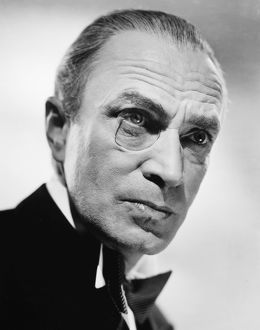 MONOCLE, 1940s. Publicity photograph, probably of the German actor Conrad Veidt wearing a monocle
