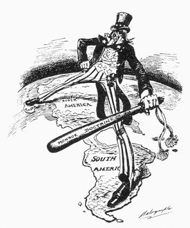 MONROE DOCTRINE CARTOON. Uncle Sam straddles the Americas while wielding a big stick