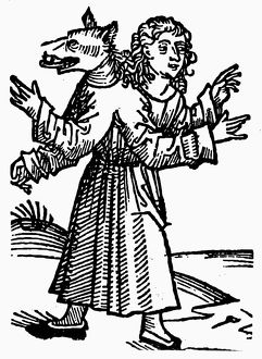 MONSTER, 1493. Part-wolf, part-human monster. Woodcut from the Nuremberg Chronicle