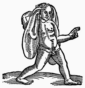 MONSTER, 1557. Large-eared man. Woodcut from the 'Prodigiorum' of Conrad