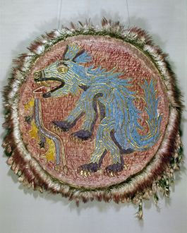 MONTEZUMA II: SHIELD. Shield decorated with feathers which belonged to the Aztec emperor
