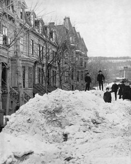 MONTREAL, c1890. A street scene in winter in Montreal, Quebec, Canada. Photograph