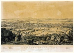 MONTREAL: MAP, 1855. Montreal skyline backed by the Saint Lawrence River, from Mount Royal