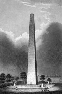 The Monument at Bunker Hill. Steel engraving, 19th century.