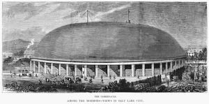 MORMON TABERNACLE, 1872. The Mormon Tabernacle at Salt Lake City, Utah. Engraving, 1870