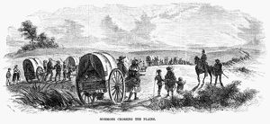 MORMONS EMIGRATING, 1856. Mormons crossing the plains. Engraving, 1856