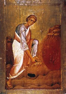 MOSES BEFORE BURNING BUSH. 12th century icon in St. Catherine's Monastery, Sinai.