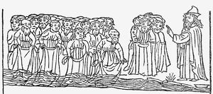 MOSES LEADING ISRAELITES. Moses leads the Israelites across the Red Sea. Woodcut