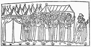 MOSES LEADING ISRAELITES. Moses leads the Israelites into the desert. Woodcut, Italian