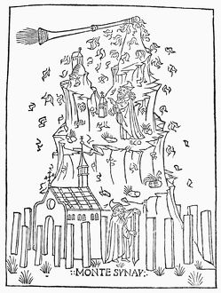 MOSES ON MOUNT SINAI. Woodcut from 'Libro de divina lege,' Venice, Italy, 1486