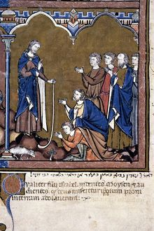 MOSES RETURNS to the Children of Israel (Exodus 4: 28-31): French ms. illumination