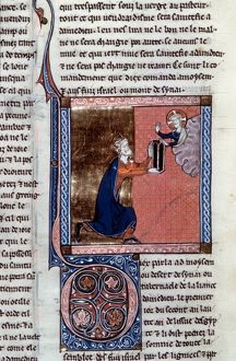 MOSES & TABLETS. Moses receives the Tablets of the Law: French manuscript illumination