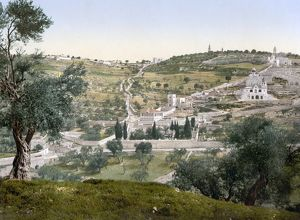 MOUNT OF OLIVES, c1900. View of the Garden of Gethsemane and the Mount of Olives
