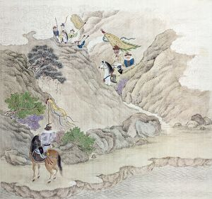 Mounted warriors riding through a mountain pass in China. Watercolor on silk, c1820.