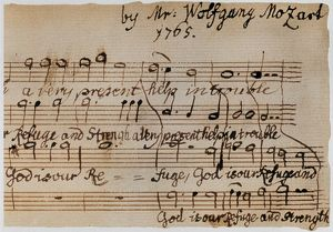 MOZART: MOTET MANUSCRIPT. Detail of the autograph of the motet, 'God is Our Refuge