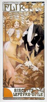 art nouveau/mucha biscuit ad c1895 flirt french lithograph