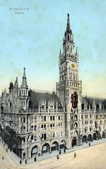 MUNICH: TOWN HALL, c1920. New Town Hall in Munich, Germany. Photograph, c1920