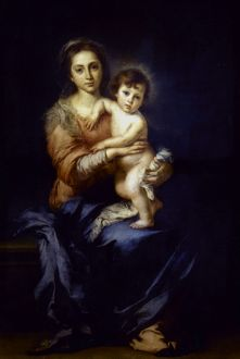 MURILLO: MADONNA. Madonna and Child. Canvas, c1650, by Bartolome Murillo