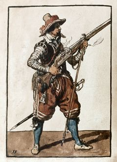MUSKETEER, 1608. A musketeer, after firing his weapon. Watercolor by Jacob de Gheyn II